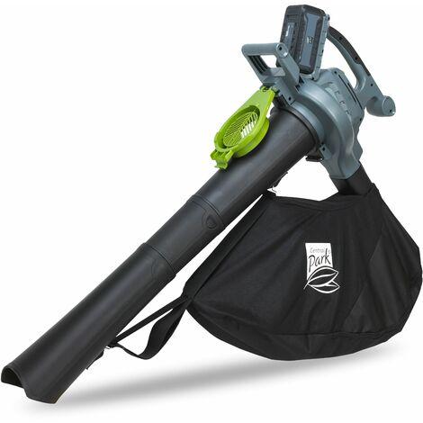 Aspirador soplador eléctrico para jardín - Central Park - 'CPA40V4B' - 40V 4Ah - Velocidad 67m / seg soplando - Negro / gris / verde