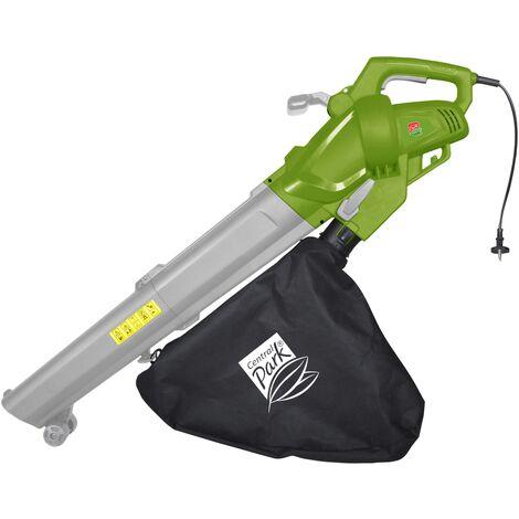 Aspirador soplador triturador de hojas eléctrico - Central Park - \'CPE3015B / 2\' - 3000W - Multifuncional - 270 kmh velocidad Blowing - SchRojoder 1:10 - Capacidad 40L - verde / gris