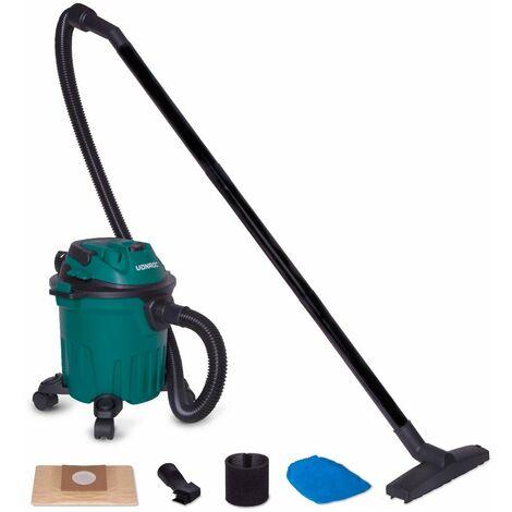 Aspirateur à eau et poussière 1000W - Réservoir de 12L et câble d'alimentation de 5m – Buses, filtres et sac d'aspirateur inclus