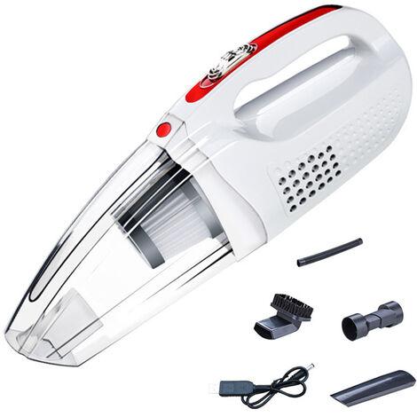Aspirateur à main à aspiration forte, aspirateur à main sans fil rechargeable pour le nettoyage de gravier de poussière de poils d'animaux domestiques et de voiture, blanc