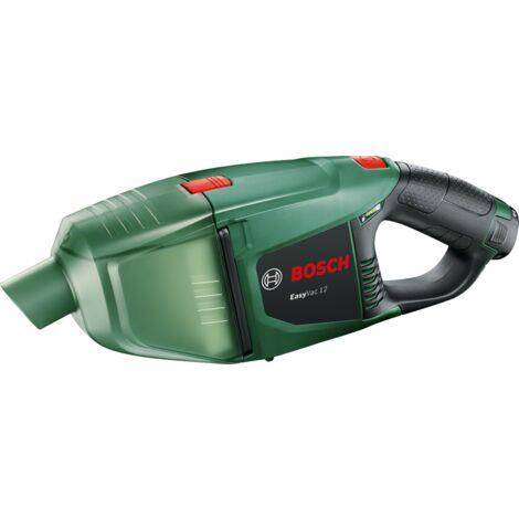 Aspirateur à main sans-fil EasyVac 12 Bosch - Livré avec: 1 suceur à brosse, 1 suceur droit, 1 suceur articulé à brosse, 2 tubes d'extension, 1 unité de filtre, 1 porte-accessoire, 1 batterie, 1 chargeur