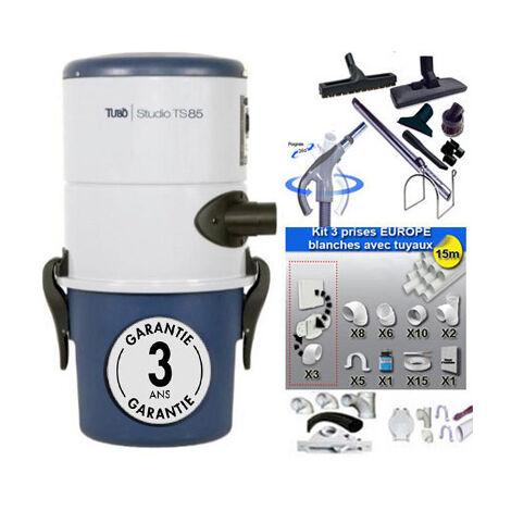 Aspirateur central Aertecnica TS85 garantie 3 ans (jusqu'à 150 m²) + trousse inter 9 ML + 8 accessoires + kit 3 prises + kit prise balai + kit prise garage