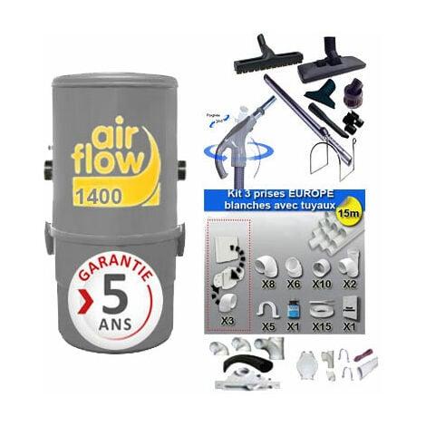 Aspirateur central AIRFLOW 1400 garantie 2 ans (jusqu'à 180 m²) + trousse inter 9 ML + 8 accessoires + kit 3 prises + kit prise balai + kit prise garage