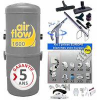 Aspirateur central AIRFLOW 1600 garantie 2 ans (jusqu'à 300 m²) + trousse inter 9 ML + 8 accessoires + kit 3 prises + kit prise balai + kit prise garage