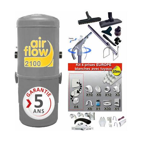 Aspirateur central AIRFLOW 2100 garantie 2 ans (jusqu'à 400 m²) + trousse inter 9 ML + 8 accessoires + kit 4 prises + kit prise balai + kit prise garage