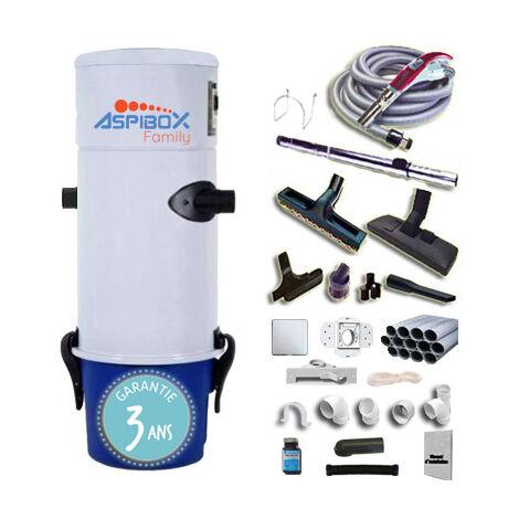 Aspirateur centralisé Aspibox Family avec kit flexible 9m à variateur de vitesse et 8 access. Kit 3 prises, kit ramasse-miettes, kit prise garage - Jusqu'à 250m2 - Garantie 3 ans