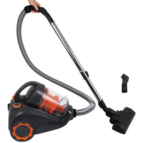 Aspirateur Cyclonique, Aspirateur Traîneau sans Sac, Orange, Capacité du bac à poussière: 2,5 L