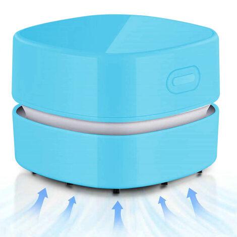 Aspirateur de bureau, mini balai à poussière de table à économie d'énergie, haute endurance jusqu'à 400 minutes, conception rotative sans fil et à 360o pour nettoyer les cheveux, les miettes, le clavier d'ordinateur, bleu
