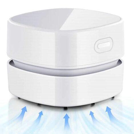 Aspirateur de bureau, mini balai à poussière de table à économie d'énergie, haute endurance jusqu'à 400 minutes, conception sans fil et rotative à 360 ° pour nettoyer les cheveux, les miettes, le clavier d'ordinateur ---- blanc