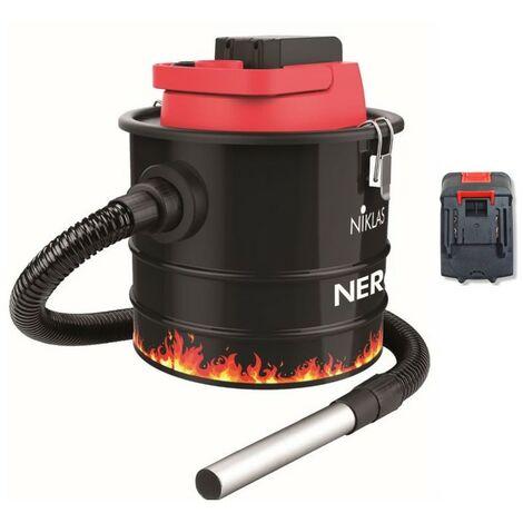 Aspirateur de cendres Batterie LITHIUM 18V 2.0Ah NIKLAS Fonction souffleur Cuve 10L Polyvalent