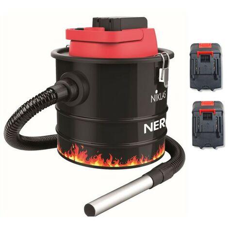 Aspirateur de cendres sans fil 18V + 2 Batteries Lithium 2.0Ah NIKLAS Aspire et Souffle Cuve 10L
