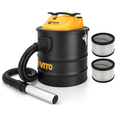 Aspirateur de cendres VITO 1400W TORNADO 18L 2 Filtres HEPA Poêles cheminées Jusqu'à 50°C Souffleur Auto System clean du filtre
