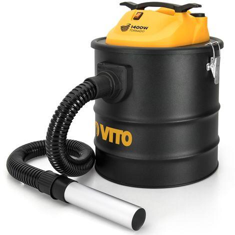 Aspirateur de cendres VITO TORNADO 1400W 18L Filtre HEPA Barbecues Poêles Jusqu'à 50°C Souffleur auto nettoyage du filtre
