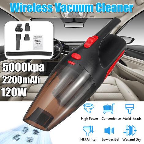 Aspirateur de voiture / maison sans fil 22800 R / MIN 120W 5000kpa 2200mAh Aspirateur portable Rechargeable à double usage humide sec à double usage 2 Types