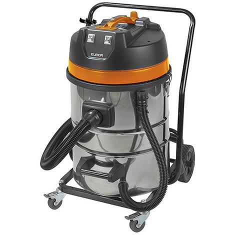 Aspirateur eau et poussières pro INOX 70 litres 2 moteurs et chariot - 230 V 2000 W - Force 2070 wet-dry - 161342 - Eurom - -