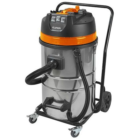 Aspirateur eau et poussières pro INOX 80 litres 3 moteurs et chariot - 230 V 3000 W - Force 3080 wet-dry - 161373 - Eurom - -