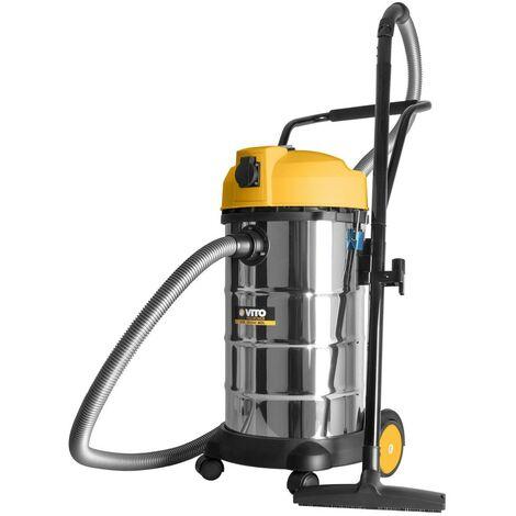 Aspirateur eau poussieres VITOPOWER 1200W Cuve inox 40L Prise 16A Souffleur Tuyau 2,5m Accessoires Filtre embouts brosse