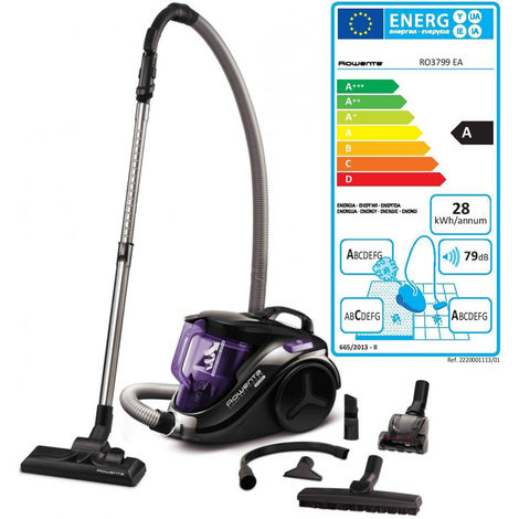 aspirateur sans sac aaca 79db noir/violet - ro3799ea - rowenta