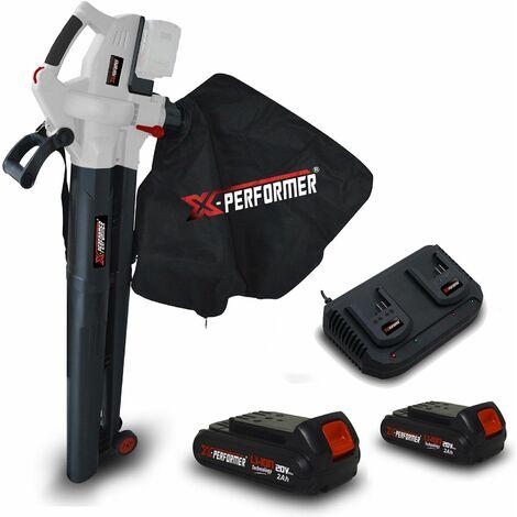 Aspirateur souffleur 40V - X-Performer XPASB40LI-2B Sac récolt. 45 L - 230Km-h + 2 Batteries 2 Ah - Double chargeur