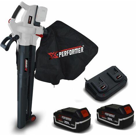 Aspirateur souffleur 40V - X-Performer XPASB40LI-2B Sac récolt. 45 L - 230Km-h + 2 Batteries 4 Ah - Double chargeur