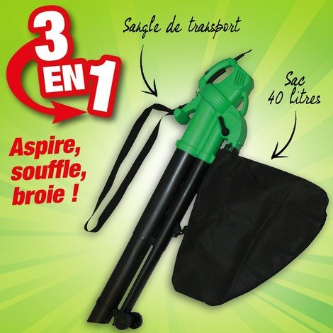 Aspirateur souffleur broyeur 2600w, vitesse variable, sac 40L+ sangle