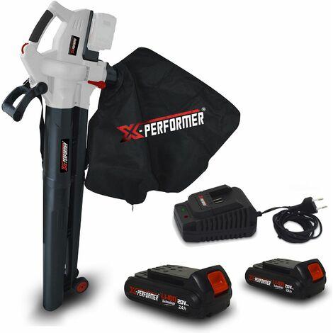 Aspirateur souffleur broyeur de feuilles 40V - X-Performer XPASB40LI-2B Sac récolt. 45 L - 230Km/h + 2 Batteries 2 Ah / chargeur