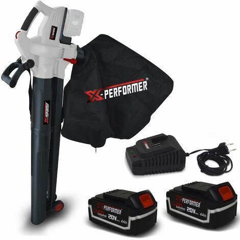 Aspirateur souffleur broyeur de feuilles 40V - X-Performer XPASB40LI-2B Sac récolt. 45 L - 230Km/h + 2 Batteries 4 Ah / chargeur