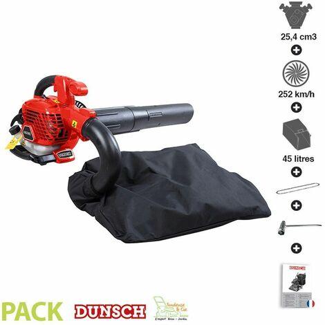 Aspirateur souffleur de feuilles thermique 25,4cc vitesse 252 km/h sac 45 litres dunsch 51254BV3
