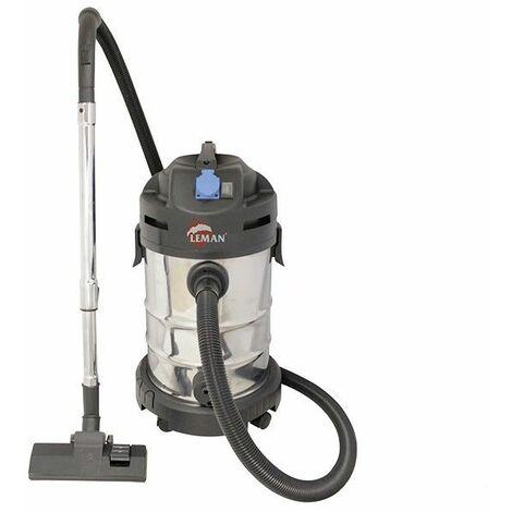 Aspirateur souffleur INOX avec prise synchronisée 30L 1400W - LEMAN LOASP301