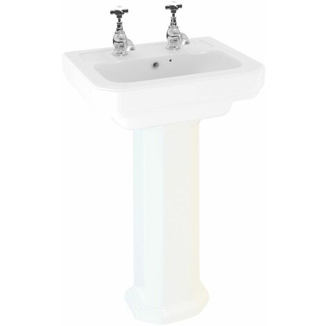 Aspire 470mm 2 Tap Hole Full Pedestal Basin Sink Bathroom Cloakroom White Gloss