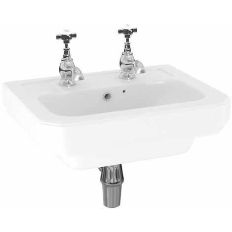 Aspire 470mm Wall Hung 2 Tap Hole Basin Sink Bathroom Cloakroom White Gloss