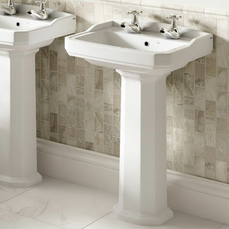 Aspire 530mm 2 Tap Hole Full Pedestal Basin Sink Bathroom Cloakroom White Gloss