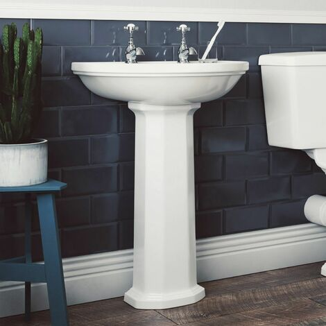 Aspire 550mm 2 Tap Hole Full Pedestal White Gloss Basin Sink Bathroom Cloakroom