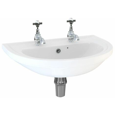 Aspire 550mm Wall Hung 2 Tap Hole Basin Sink Bathroom Cloakroom Bottle Trap
