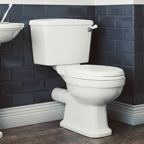 Aspire Bathroom Close Coupled Traditional Toilet Pan Soft Close Seat Cistern