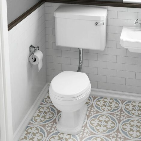 Aspire Bathroom Traditional Low Level Toilet Pan Soft Close Seat Lever Flush