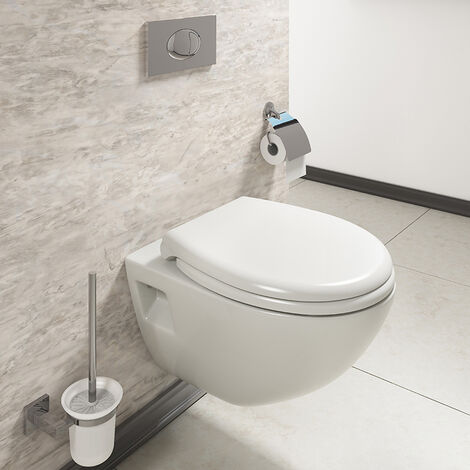 Aspire Wall Hanging Toilet Pan Soft Close Seat White Ceramic Dual Flush Top Fix