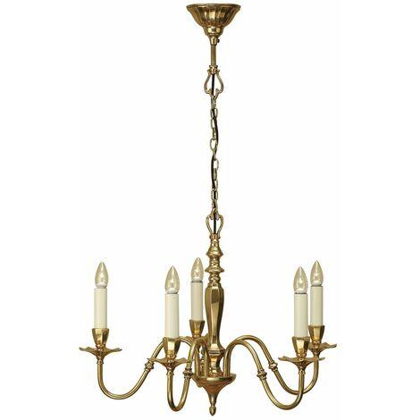 Asquith brass pendant light, 5 lights