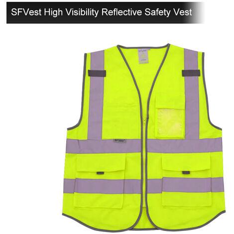 Assainissement Multiples Gilets Reflechissants Fluorescents Veste Poches, L Jaune Fluorescent