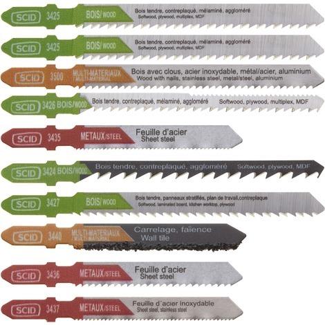 Assortiment 10 lames de scie sauteuse accroche en T SCID - Chrome vanadium et HSS