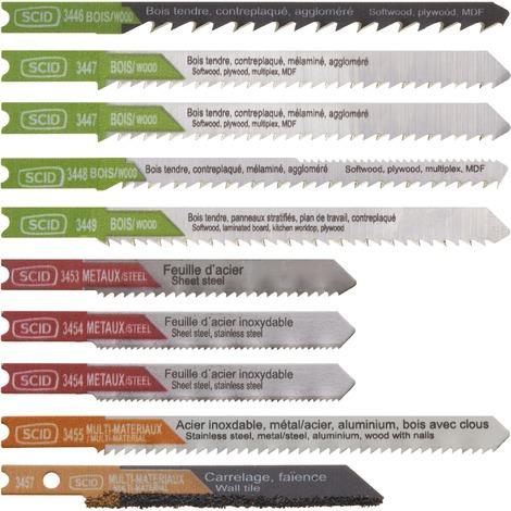 Assortiment 10 lames de scie sauteuse accroche en U Chrome vanadium et HSS - SCID