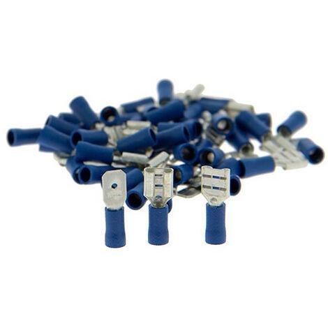 Assortiment de 50 cosses Mâles - plates + femelles - isolées bleues - XL Tech