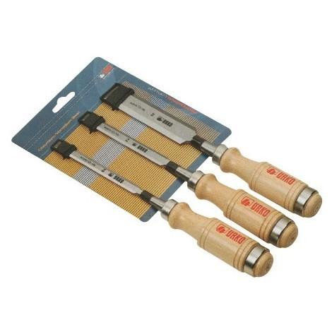 Assortiment de 6 ciseaux de menuisier 6 10 12 16 20 et 26 mm manche bois 675-M - UR-5110675 - Urko - -