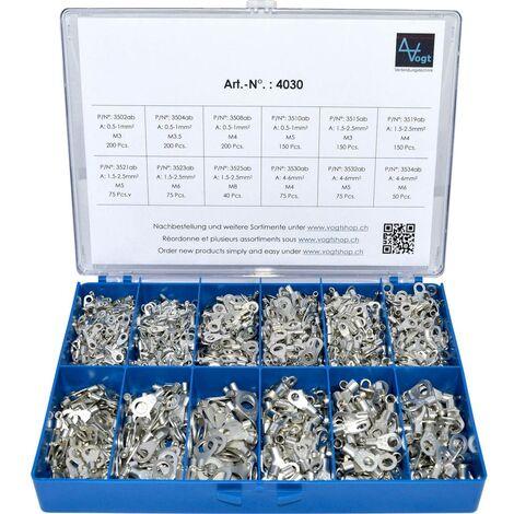 Assortiment de cosses à oeillet 0.50 mm² 6 mm² argent Vogt Verbindungstechnik 4030 1440 pc(s)