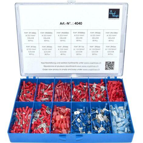 Assortiment de cosses à sertir 0.50 mm² 2.50 mm² rouge, bleu Vogt Verbindungstechnik 4040 575 pc(s)