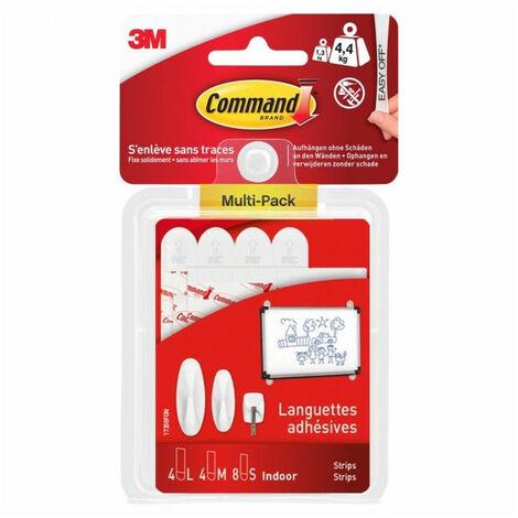 Assortiment de languettes adhésives - blanc 3M Command