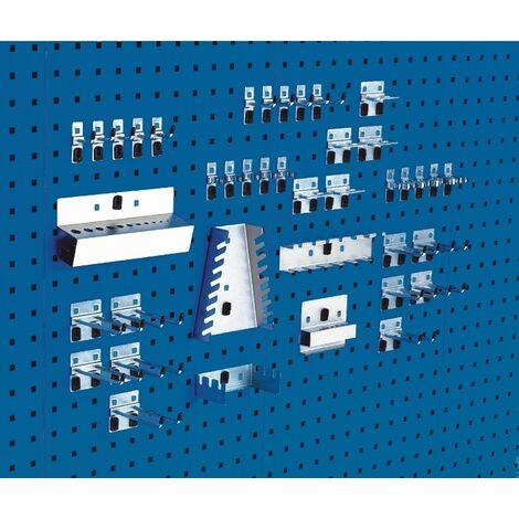 """main image of """"Assortiment de porte-outils 40 pcs. galvanisée Adapté à panneaux perforés 10 crochets/10 crochets doubles/20 croch div.support"""""""