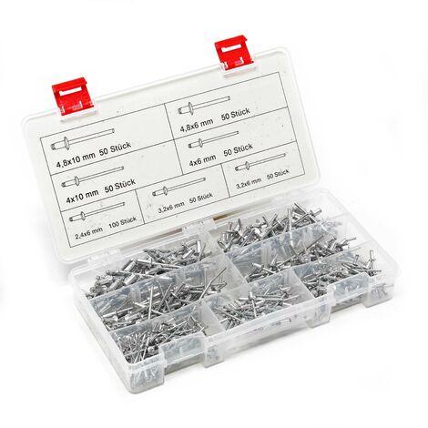 """main image of """"Assortiment de rivets aveugles en Alu 400 pièces 6 différentes tailles Raccord solide Coffret"""""""