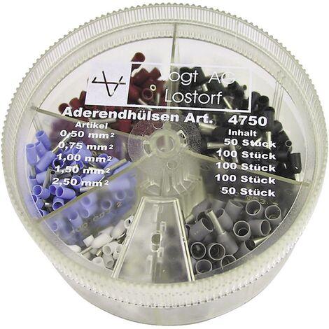 Assortiment dembouts simples Vogt Verbindungstechnik 4750 0.50 mm² 2.50 mm² blanc, bleu clair, rouge, noir, gris 400 pc