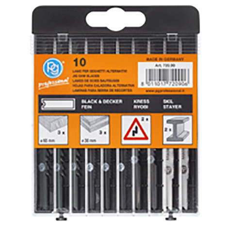 Assortiments 10 lames de scie sauteuse bois et métal - 720.90 - PG Professional